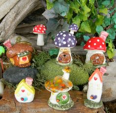 Fairy Houses Polymer clay | House Miniature .. Fairy or Gnomes can live here. Little Clay Home ...