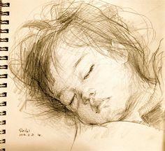 magnifique dessin de tête de bébé endormi !