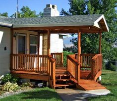 Covered front porch and wheelchair ramp