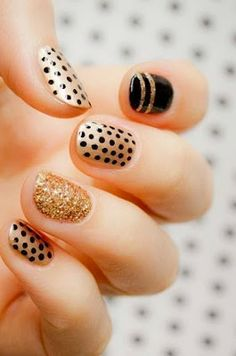 Black and Gold Holiday Nails on A Minute in the Life