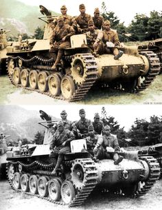 """Black and white and colorized photo of a Type 97 """"Chi-Ha"""" tank with soldiers getting a lift"""