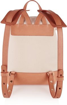 Mansur Gavriel Mini Leather-Trimmed Canvas Backpack in White