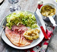 Homemade pub grub always tastes so much better! Salty gammon is perfectly complemented by sweet apple and punchy celeriac mash - 3 of your 5-a-day!