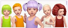 CONTENTS  All EA Toddler hairs recoloured  New Swatches added to original hairs  Disabled for random   REQUIREMENTS  The Sims 4 ... Not So Berry Sims 4