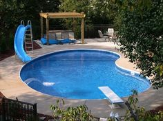 Pool ideas for backyards swimming pool ideas for small backyards backyard pool landscaping ideas simple pool Inground Pool Designs, Small Inground Swimming Pools, Swimming Pool Designs, Vinyl Pools Inground, Pools For Small Yards, Small Backyard Pools, Backyard Pool Landscaping, Backyard Pool Designs, Small Backyards