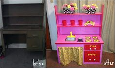 Desk to Kids play kitchen So cute! Repurposed furniture recycle, reuse, DIY i have wanted to give my kids one with my personal touches and it looks so fun to make. my excuse: no tools to get the job done Diy Kids Furniture, Repurposed Furniture, Vintage Furniture, Repurposed Wood, Doll Furniture, Furniture Projects, Diy For Kids, Crafts For Kids, Diy Crafts