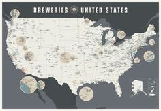 Breweries of the United States 2.0 by Popchartlab on Etsy