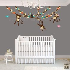 Hanging Monkey Wall Decal, Girl Monkey Vines, Monkey Decal, Nursery Wall Decals, Girl Monkey Decor, Pure Happiness Design