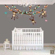 Hanging Monkey Wall Decal, Girl Monkey Vines, Monkey Decal, Nursery Wall Decals, Girl Monkey Decor, Pure Happiness Design