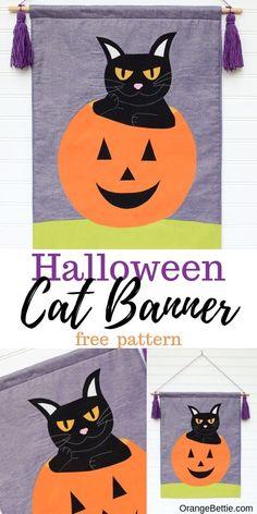 DIY Halloween Black Cat Banner - Free Sewing Pattern Halloween Sewing, Fall Sewing, Halloween Banner, Halloween Crafts For Kids, Halloween Cat, Halloween Ideas, Sewing Patterns Free, Sewing Tutorials, Sewing Crafts