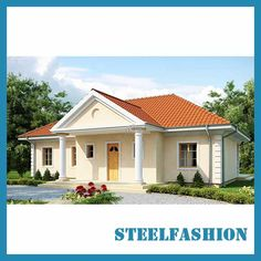 This American style small prefab modular homes has a total area of 110 square meters and a single-story structure. Steel Frame House, Steel House, Style At Home, Single Storey House Plans, Modular Home Manufacturers, Prefab Modular Homes, Exterior Wall Cladding, Small Wooden House, Modern Bungalow House