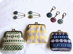 Japanese Embroidery, Needlepoint, Kogin, Weaving, Coin Purses, Wallet, Keys, Fabric, How To Make
