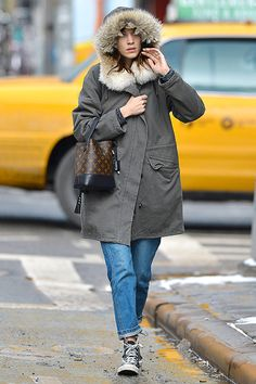Alexa Chung bundles up against the winter chill as she sets off on some errands in the East Village on 26 February 2014.