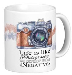 Photography Gift Mug, with life quote, watercolor and sketch camera, gift mug