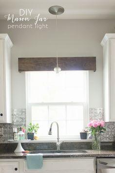 DIY Modern farmhouse kitchen Mason jar pendant light ❤️