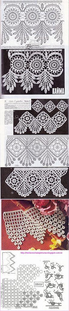 Could make earrings out of lace pieces. Paint, add sequins, etc. Filet Crochet, Crochet Lace Edging, Crochet Motifs, Crochet Borders, Freeform Crochet, Crochet Diagram, Crochet Stitches Patterns, Crochet Art, Thread Crochet