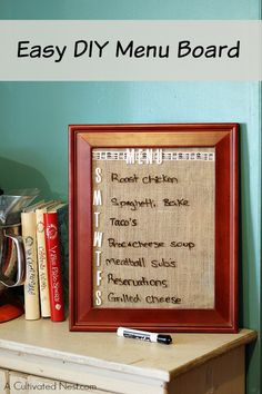 DIY Menu Planning Board/wipe-off board - so easy to make and great way to keep track of your weekly menu plan. Makes a great gift too! Weekly Menu Planning, Planning Board, Meal Planning, Office Organization At Work, Small Bathroom Organization, Easy Crafts, Easy Diy, Recipe Organization, Organization Ideas