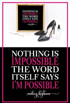 Nothing is impossible, the word itself says I'm possible is a famous quote by Audrey Hepburn and it has been reimagined as beautiful wall art. This is an instant digital download that you can customize yourself (any color combination) and print at home on your own printer. For a large poster size, upload the pdf to any commercial printer such as Staples or Kinkos! Find more fashion prints in my Etsy shop. #audreyhepburn #fashionprints #inspirationalquotesprints #printablewallart