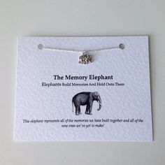 Necklace: Silver Elephant Memory Charm Necklace. Best Friend Necklace, Bridesmaid Necklace, Memory Elephant Necklace. Wedding Favours!
