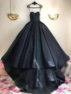 Black Prom Dresses Ball Gown Sweetheart Sweep Train Sexy Prom Dress Long Evening Dress JKL706