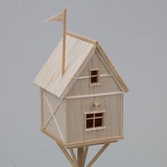 Escapist Fantasy miniature sculpture out of balsa by StoryObjects Harrison Smith, Fantasy Miniatures, Woods, Sculpture, Bird, Cool Stuff, Unique Jewelry, Handmade Gifts, Outdoor Decor