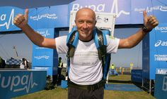 Tony Phoenix-Morrison has completed 30 half marathons with a fridge on his back. Photograph: Sir Bobby Robson Foundation/PA