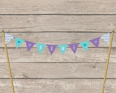 House Warming Party - PRINTABLE Cake Bunting, purple and teal, by MyPartyDesign - Instant Download on Etsy, $4.82