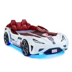 The perfect addition to your little racer's bedroom, the Twin Race Car Bed is the ultra-cool bed all kids dream about. Boasts a GTS coupe race car design, complete with LED lights and sound effects. Fits a twin size mattress (not included). Toddler Tent, Kids Toddler Bed, Kids Race Car Bed, Car Bed Frame, Twin Car Bed, Race Car Bedroom, Bed With Led Lights, Night Lights, Disney Bedding