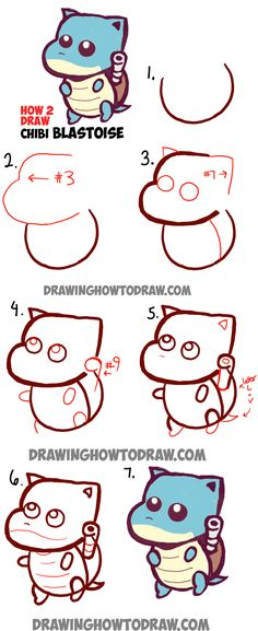 Learn How to Draw Cute Baby Chibi Blastoise from Pokemon Simple Step by Step Drawing Lesson