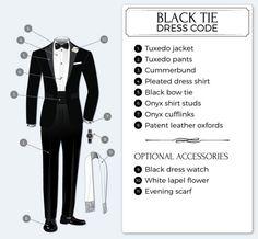 Black tie/Smoking ska bestå i smokingjacka, gördel, smokingbyxor, vit skjorta, svart fluga.