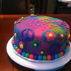 Ava's groovy birthday cake I made...better pictures from my big girl camera to come...pinterest/ashcrash007