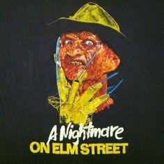 Vintage Nightmare on Elm Street Freddy Krueger movie t-shirt Horror Movie Characters, Horror Films, Robert Englund, Staying Up Late, Movie T Shirts, Nightmare On Elm Street, Freddy Krueger, Vintage Movies, Random Stuff