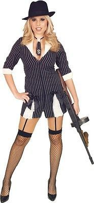womens gangster dress halloween costume m 8 10 adult sexy roaring 20s mobster ebay - Female Gangster Halloween Costumes