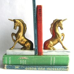 Possible craft inspiration - make bookends using cool animals/figures spray painted in solid color and mounted to a heavy base