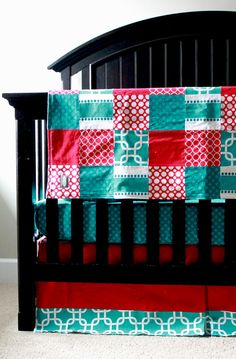 Crib Bedding - Red And Turquoise