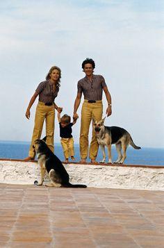 Alain Delon, avec Nathalie et Anthony Delon à Saint-Tropez