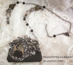 Trash to Treasure Art,purse necklace with antique tintype and stamping into molten solder