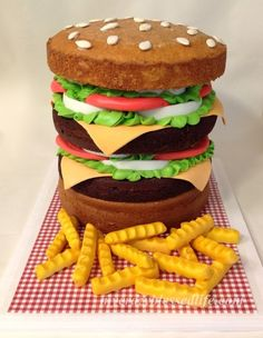 Double Cheese Burger and Fries…This is a CAKE !!!!---too cute. bbq party or for a burger lover!