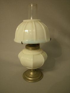 Antique Miniature Oil Lamp, pewter pedestal base, milk glass paneled font and shade, Acorn burner The Semprini Collection