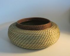 Pine needle basket green and caramel handwoven by TwistedandCoiled