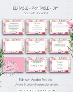 Floral Wedding Insert Cards - different insert card variations, with elegant and shiny watercolor floral graphics for your romantic wedding.This unique wedding insert card template set is an instant download EDITABLE PDF pack so you can download it right away, DIY edit and print it at home or at your local copy shop by Amistyle Digital Art on Etsy Wedding Rsvp, Wedding Sets, Floral Wedding, Wedding Cards, Watercolor Wedding Invitations, Wedding Stationery, Artisan & Artist, Response Cards, Save The Date Cards
