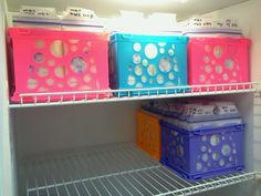 Breastmilk storage crates. These sterilite mini crates are great for breastmilk storage. The bags fit in them perfectly and they even fit in my freezer perfectly. I got mine at Walmart for $.97 each!