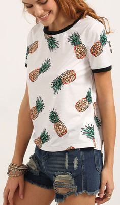 Multicolor Short Sleeve Fruit Print T-shirt. Very cute and Very vibrant!