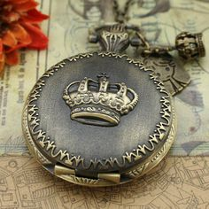 Antique pocket watch necklace bronze crown design by luckyvicky, $4.99
