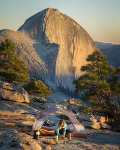 Fading light on Half Dome, settling in for a night under the stars. .  For those…