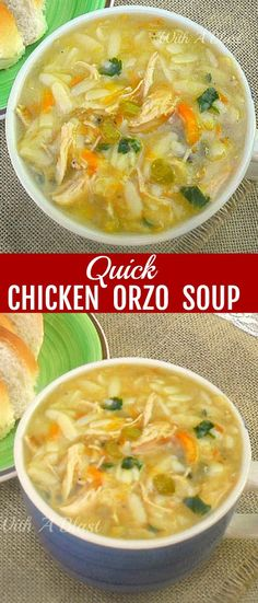 Delicious, thick, filling and warming Quick Chicken Orzo Soup ~ comfort food in . - Soups and Stews - Chicken Recipes Quick Soup Recipes, Orzo Recipes, Chicken Soup Recipes, Cooking Recipes, Chicken Ideas, Chowder Recipes, Egg Recipes, Delicious Recipes, Recipies