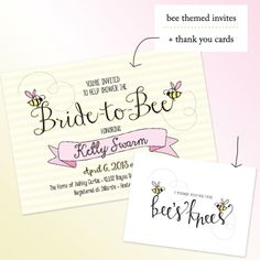 wedding shower bee theme | Bride to BEE / Mom to BEE Shower Invites