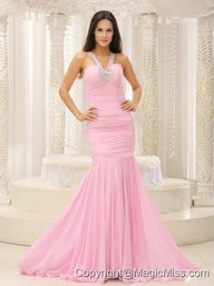 Mermaid V-neck Beaded Decorate Shoulder Ruched Bodice For Romantic Prom Dress