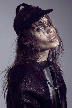 Photographer: Niklas Hoejlund www.niklashoejlund.com  fashion photography black and white b/w portrait cap leather jacket female