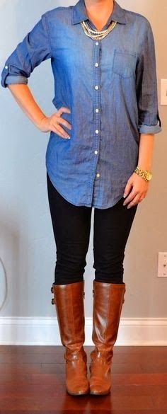 Old navy chambray shirt, black skinny jeans and brown long boots
